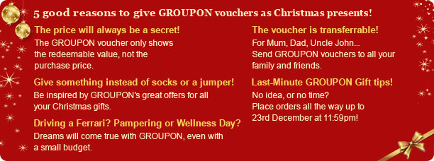 5 good reasons to give Groupon vouchers as Christmas presents »